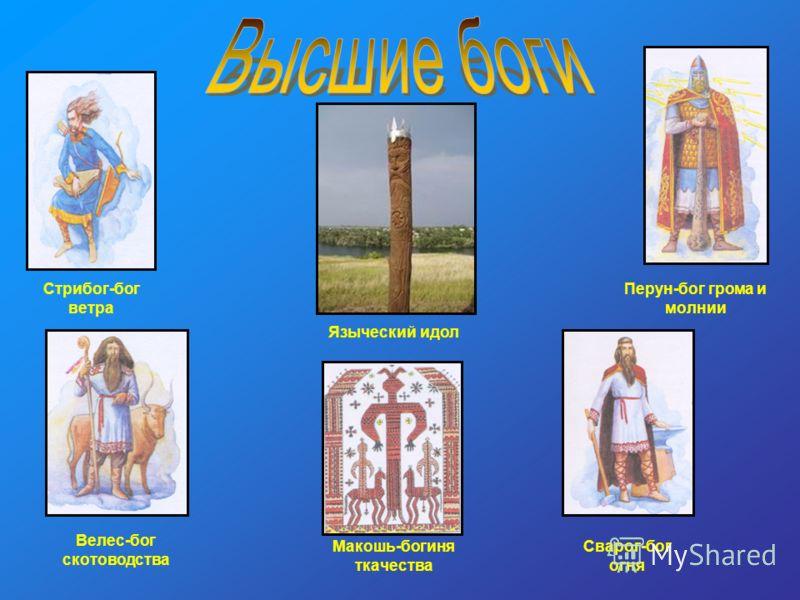 Перун-бог грома и молнии Велес-бог скотоводства Макошь-богиня ткачества Сварог-бог огня Стрибог-бог ветра Языческий идол