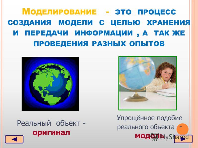 М ОДЕЛИРОВАНИЕ - ЭТО ПРОЦЕСС СОЗДАНИЯ МОДЕЛИ С ЦЕЛЬЮ ХРАНЕНИЯ И ПЕРЕДАЧИ ИНФОРМАЦИИ, А ТАК ЖЕ ПРОВЕДЕНИЯ РАЗНЫХ ОПЫТОВ Реальный объект - оригинал Упрощённое подобие реального объекта - модель