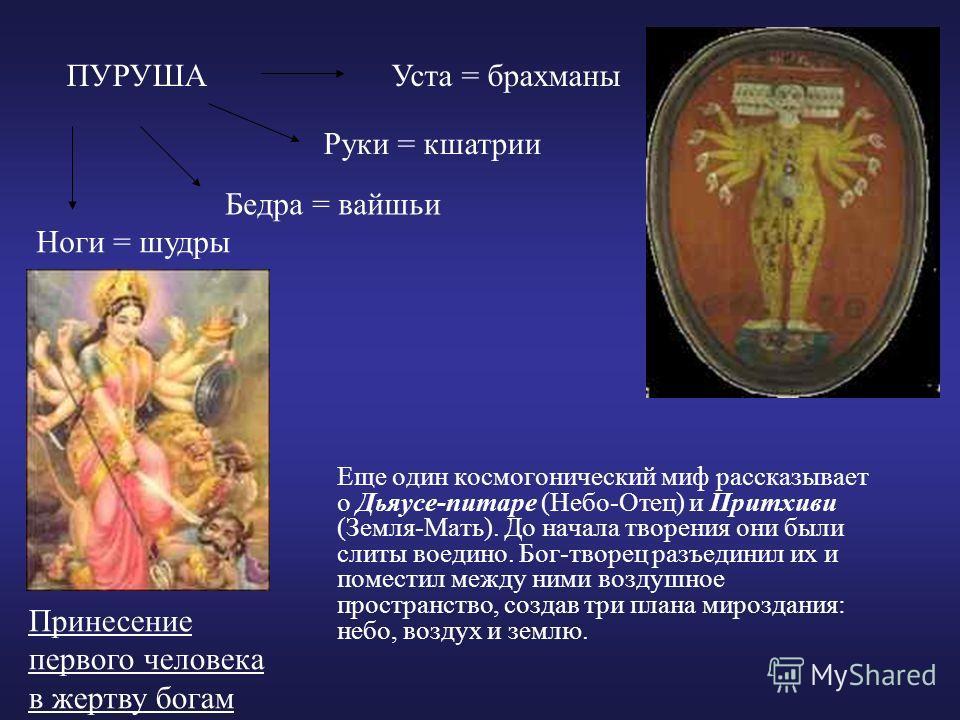 Еще один космогонический миф рассказывает о Дьяусе-питаре (Небо-Отец) и Притхиви (Земля-Мать). До начала творения они были слиты воедино. Бог-творец разъединил их и поместил между ними воздушное пространство, создав три плана мироздания: небо, воздух