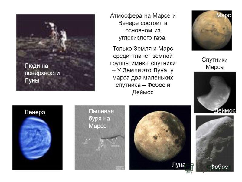 Венера Спутники Марса Атмосфера на Марсе и Венере состоит в основном из углекислого газа. Только Земля и Марс среди планет земной группы имеют спутники – У Земли это Луна, у марса два маленьких спутника – Фобос и Деймос Люди на поверхности Луны Венер