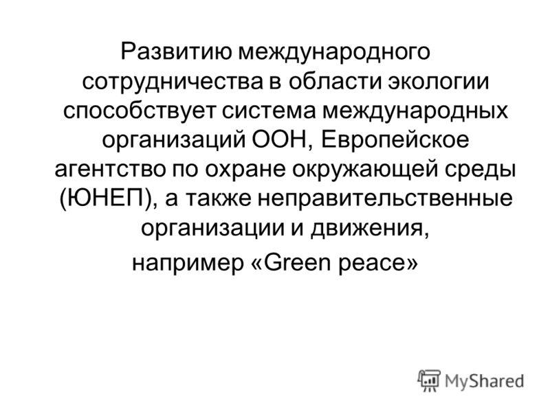 Развитию международного сотрудничества в области экологии способствует система международных организаций ООН, Европейское агентство по охране окружающей среды (ЮНЕП), а также неправительственные организации и движения, например «Green peace»