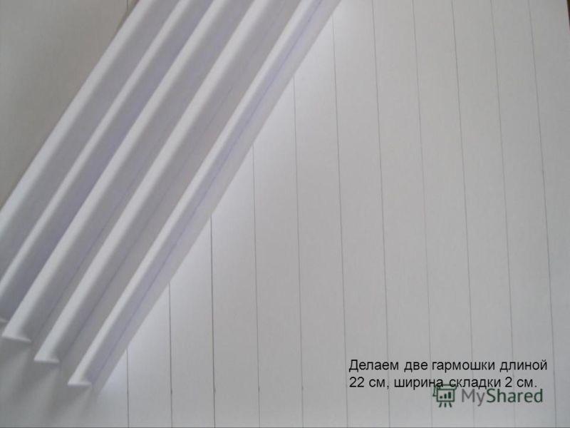 Делаем две гармошки длиной 22 см, ширина складки 2 см.