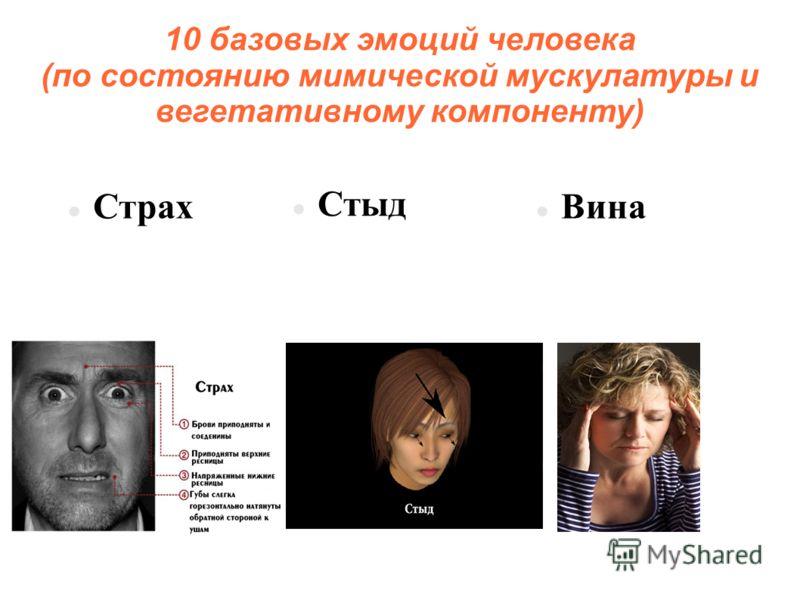 10 базовых эмоций человека (по состоянию мимической мускулатуры и вегетативному компоненту) Страх Стыд Вина