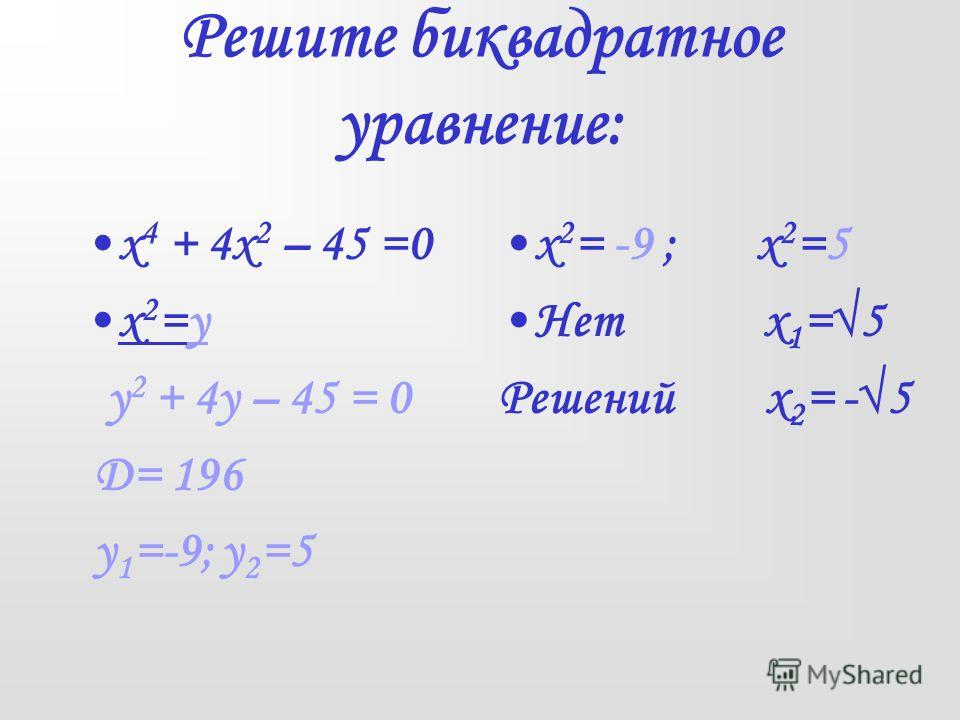 Решите биквадратное уравнение: х 4 + 4х 2 – 45 =0 х 2 =у у 2 + 4у – 45 = 0 Д= 196 у 1 =-9; у 2 =5 х 2 = -9 ; х 2 =5 Нет х 1 =5 Решений х 2 = -5