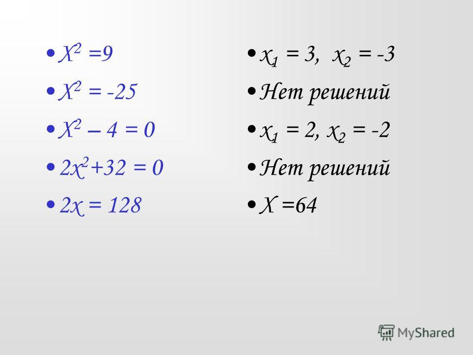 Х 2 =9 Х 2 = -25 Х 2 – 4 = 0 2х 2 +32 = 0 2х = 128 х 1 = 3, х 2 = -3 Нет решений х 1 = 2, х 2 = -2 Нет решений Х =64