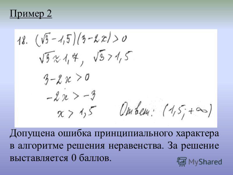 Пример 2 Допущена ошибка принципиального характера в алгоритме решения неравенства. За решение выставляется 0 баллов.