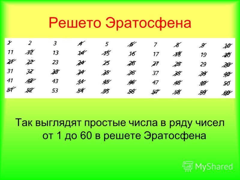 Решето Эратосфена Так выглядят простые числа в ряду чисел от 1 до 60 в решете Эратосфена
