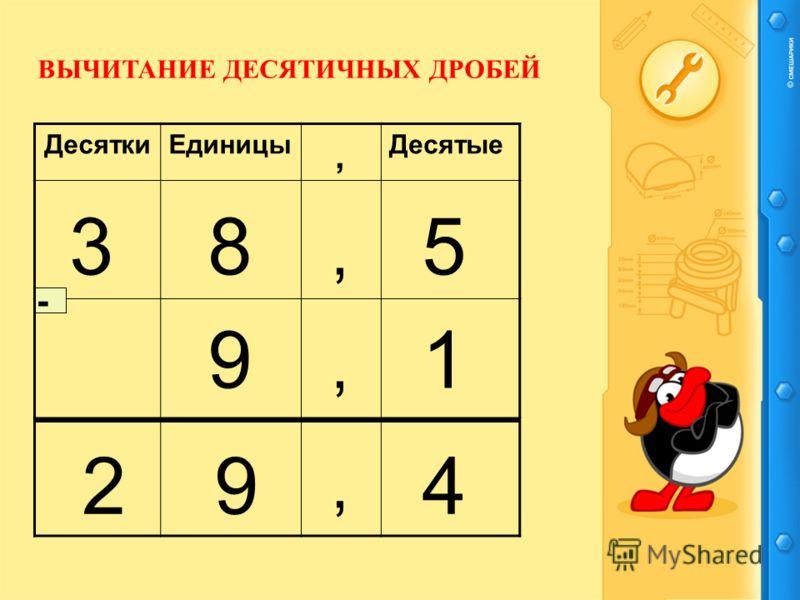 ДесяткиЕдиницыДесятые,,, 835 91 492, - ВЫЧИТАНИЕ ДЕСЯТИЧНЫХ ДРОБЕЙ