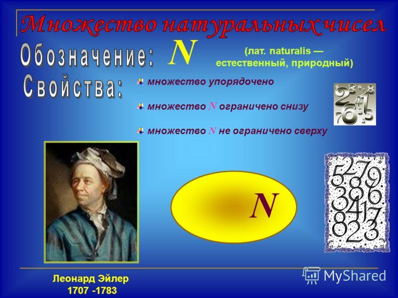 N множество упорядочено множество N ограничено снизу множество N не ограничено сверху Леонард Эйлер 1707 -1783 N (лат. naturalis естественный, природный)