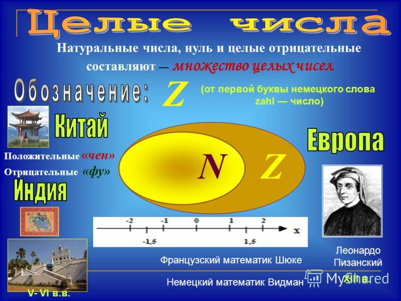Натуральные числа, нуль и целые отрицательные составляют множество целых чисел. (от первой буквы немецкого слова zahl число) Z NZ Положительные «чен» Отрицательные «фу» V- VI в.в. XIII в. Леонардо Пизанский Французский математик Шюке Немецкий математ