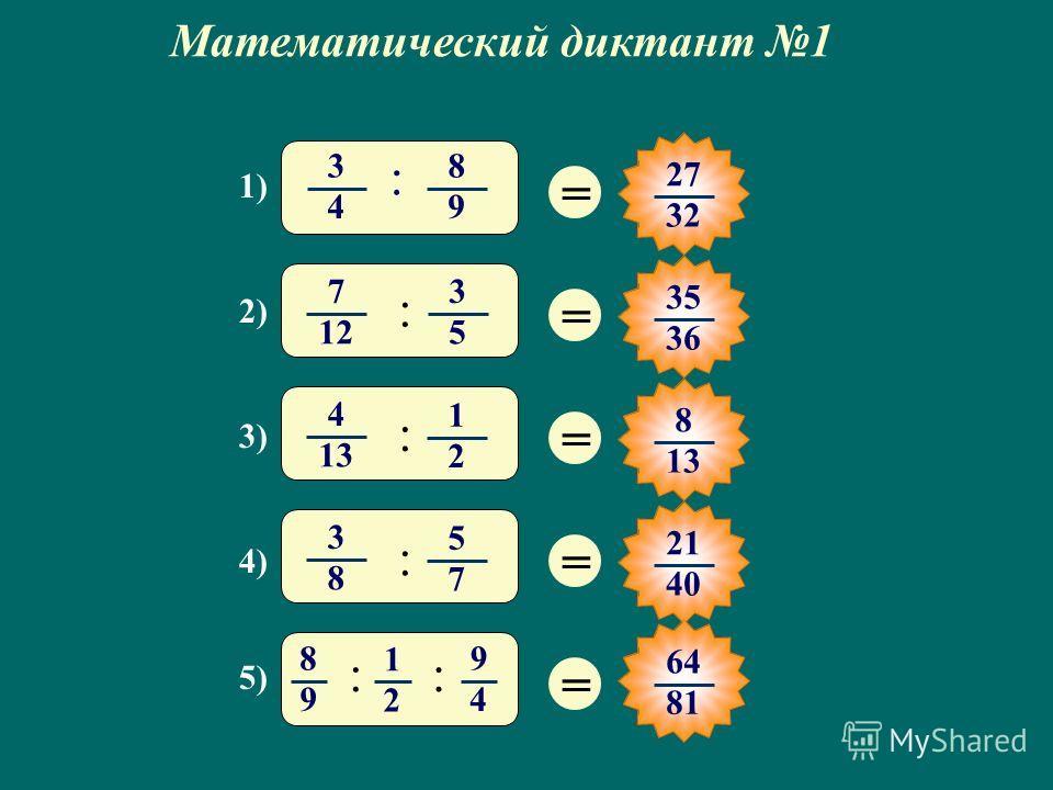 Математический диктант 1 = 27 32 = 35 3636 = 8 13 = 21 40 = 1) 3 4 8 9 : 3) 4 1313 1 2 : 2) 7 12 3 5 : 4) 3 8 5 7 : 5) 8 9 1 2 9 4 :: 64 81