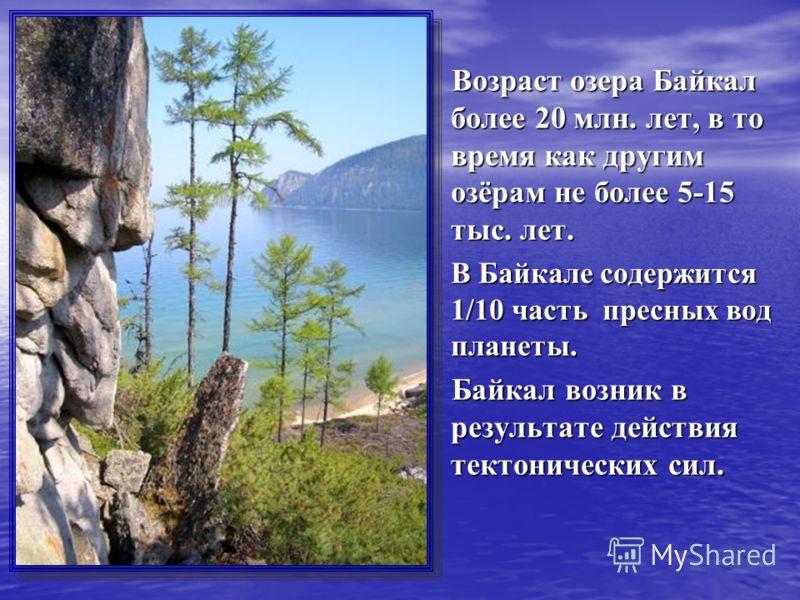 Возраст озера Байкал более 20 млн. лет, в то время как другим озёрам не более 5-15 тыс. лет. Возраст озера Байкал более 20 млн. лет, в то время как другим озёрам не более 5-15 тыс. лет. В Байкале содержится 1/10 часть пресных вод планеты. В Байкале с