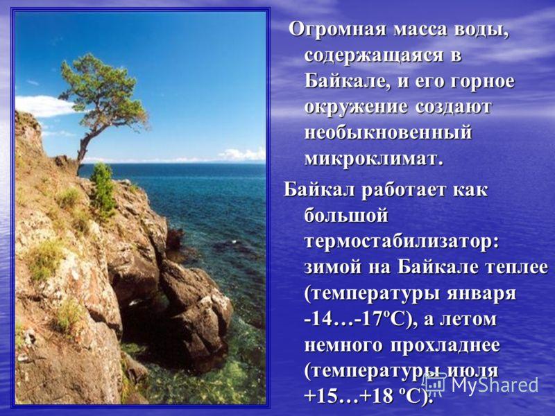 Огромная масса воды, содержащаяся в Байкале, и его горное окружение создают необыкновенный микроклимат. Огромная масса воды, содержащаяся в Байкале, и его горное окружение создают необыкновенный микроклимат. Байкал работает как большой термостабилиза