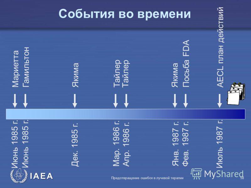 IAEA Предотвращение ошибок в лучевой терапии58 События во времени Июнь 1985 г. Maриетта Янв. 1987 г. Гамильтон Дек. 1985 г. Якима Maр. 1986 г. Тайлер Aпр. 1986 г.Фев. 1987 г. Посьба FDA Июль 1987 г. AECL план действий Июнь 1985 г. Тайлер Якима