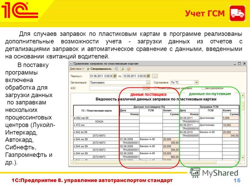 15 www.1c-menu.ru, Октябрь 2010 г. Для случаев заправок по пластиковым картам в программе реализованы дополнительные возможности учета - загрузки данных из отчетов с детализациями заправок и автоматическое сравнение с данными, введенными на основании
