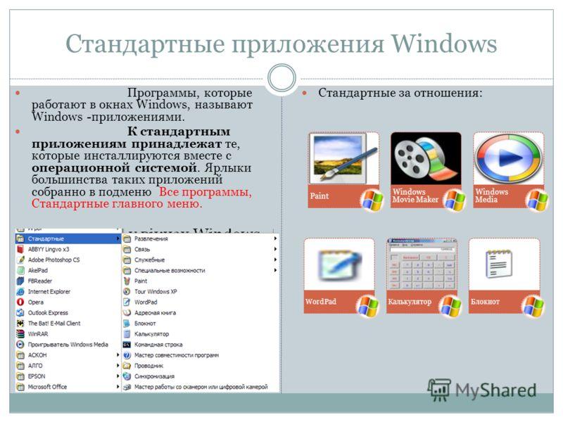 Стандартные приложения Windows Программы, которые работают в окнах Windows, называют Windows -приложениями. К стандартным приложениям принадлежат те, которые инсталлируются вместе с операционной системой. Ярлыки большинства таких приложений собранно