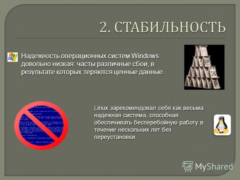 Надежность операционных систем Windows довольно низкая: часты различные сбои, в результате которых теряются ценные данные. Linux зарекомендовал себя как весьма надежная система, способная обеспечивать бесперебойную работу в течение нескольких лет без