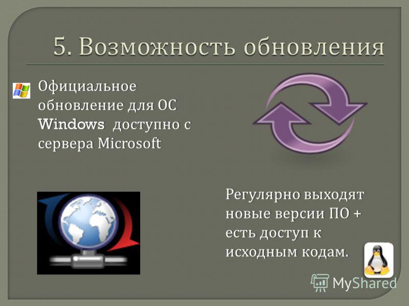 Официальное обновление для ОС Windows доступно с сервера Microsoft Регулярно выходят новые версии ПО + есть доступ к исходным кодам.