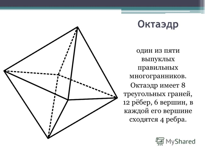 Октаэдр один из пяти выпуклых правильных многогранников. Октаэдр имеет 8 треугольных граней, 12 рёбер, 6 вершин, в каждой его вершине сходятся 4 ребра.