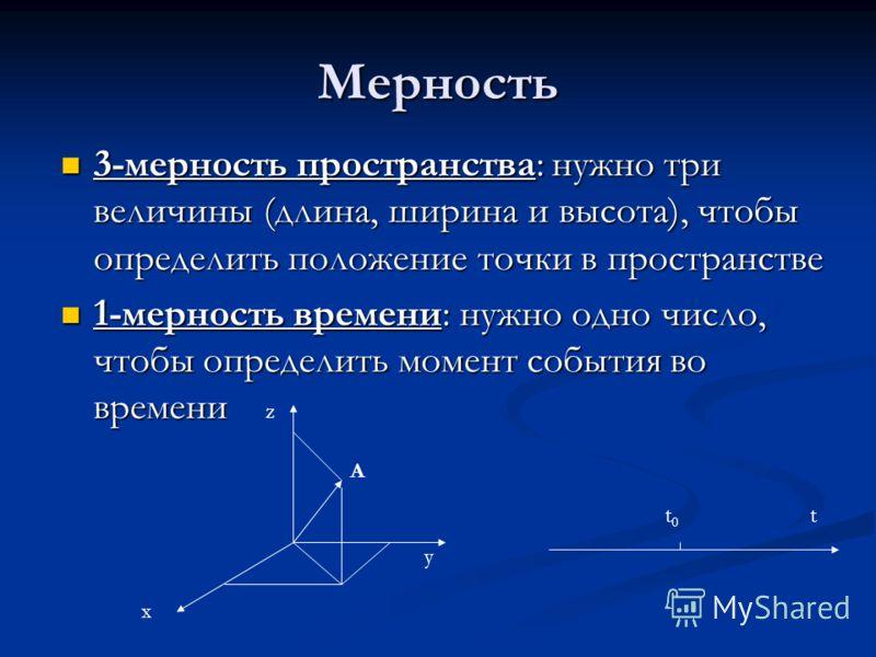 Мерность 3-мерность пространства: нужно три величины (длина, ширина и высота), чтобы определить положение точки в пространстве 3-мерность пространства: нужно три величины (длина, ширина и высота), чтобы определить положение точки в пространстве 1-мер