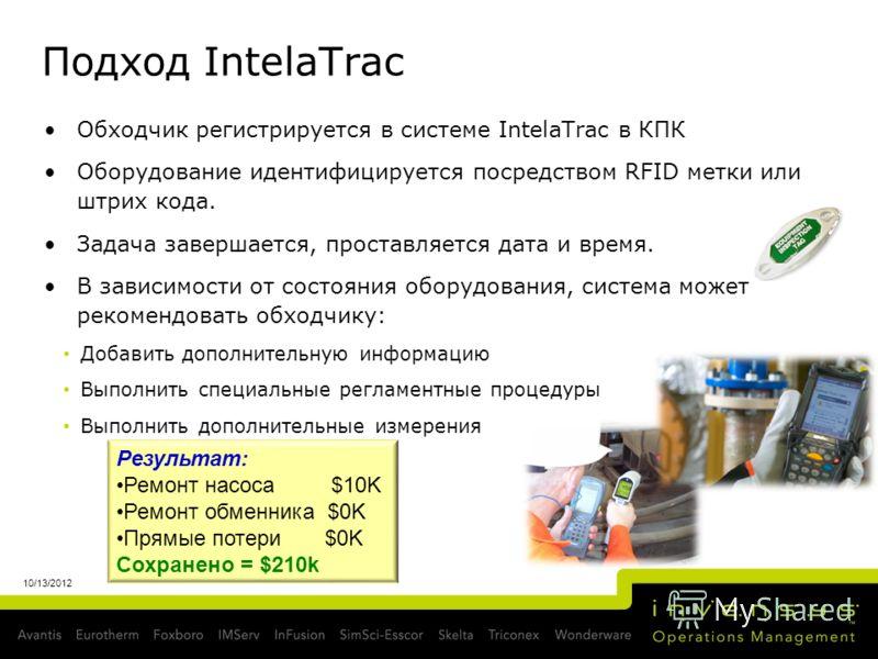 Подход IntelaTrac Обходчик регистрируется в системе IntelaTrac в КПК Оборудование идентифицируется посредством RFID метки или штрих кода. Задача завершается, проставляется дата и время. В зависимости от состояния оборудования, система может рекомендо