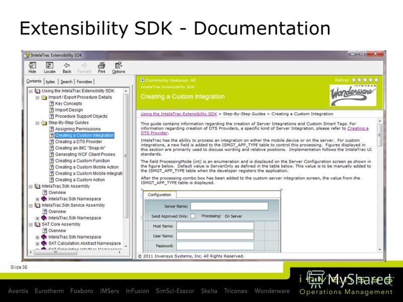 Extensibility SDK - Documentation Slide 35
