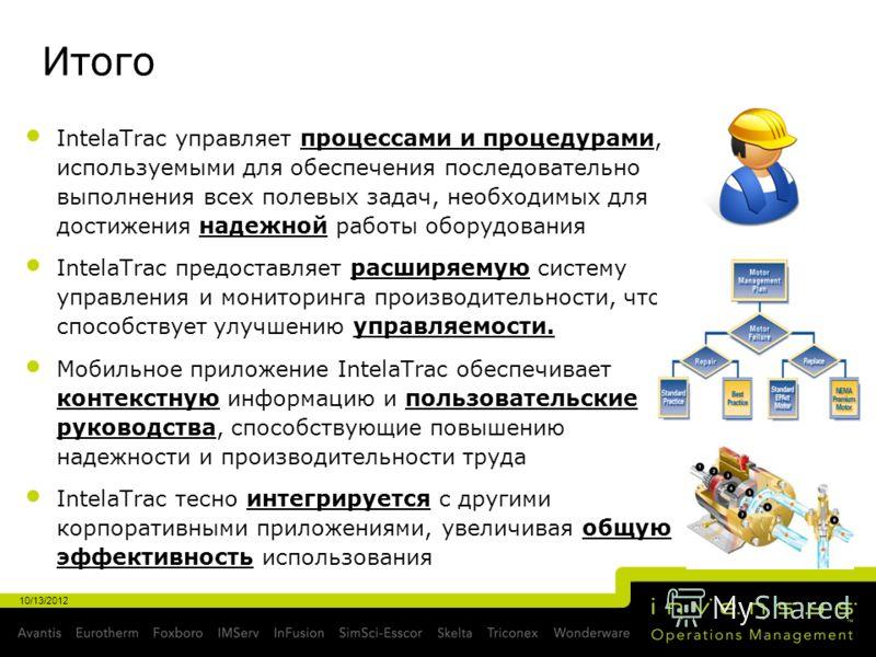 Итого IntelaTrac управляет процессами и процедурами, используемыми для обеспечения последовательно выполнения всех полевых задач, необходимых для достижения надежной работы оборудования IntelaTrac предоставляет расширяемую систему управления и монито