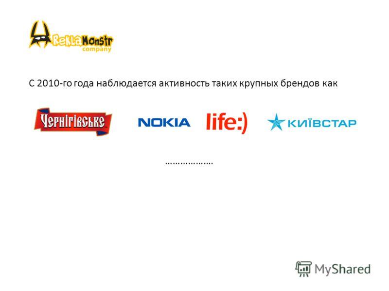 С 2010-го года наблюдается активность таких крупных брендов как ……………….