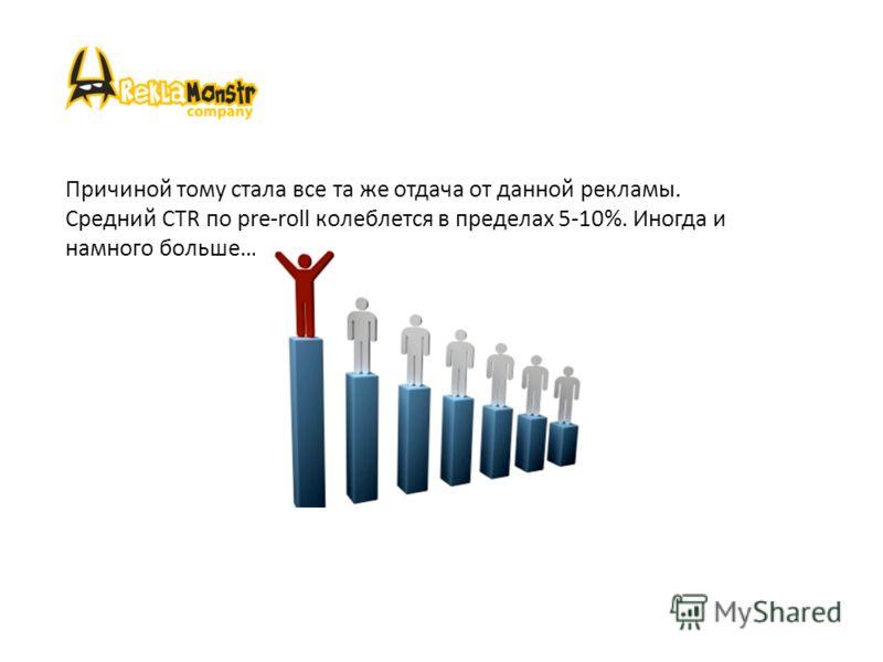 Причиной тому стала все та же отдача от данной рекламы. Средний CTR по pre-roll колеблется в пределах 5-10%. Иногда и намного больше…
