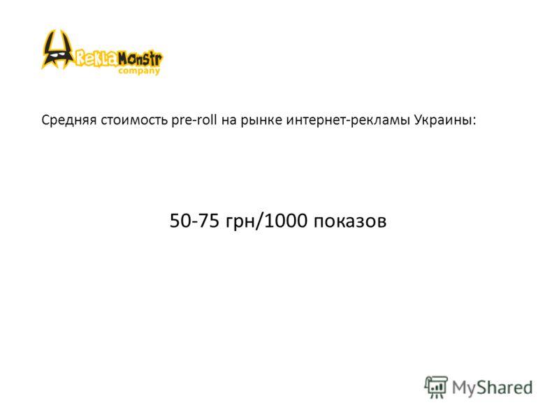 Средняя стоимость pre-roll на рынке интернет-рекламы Украины: 50-75 грн/1000 показов