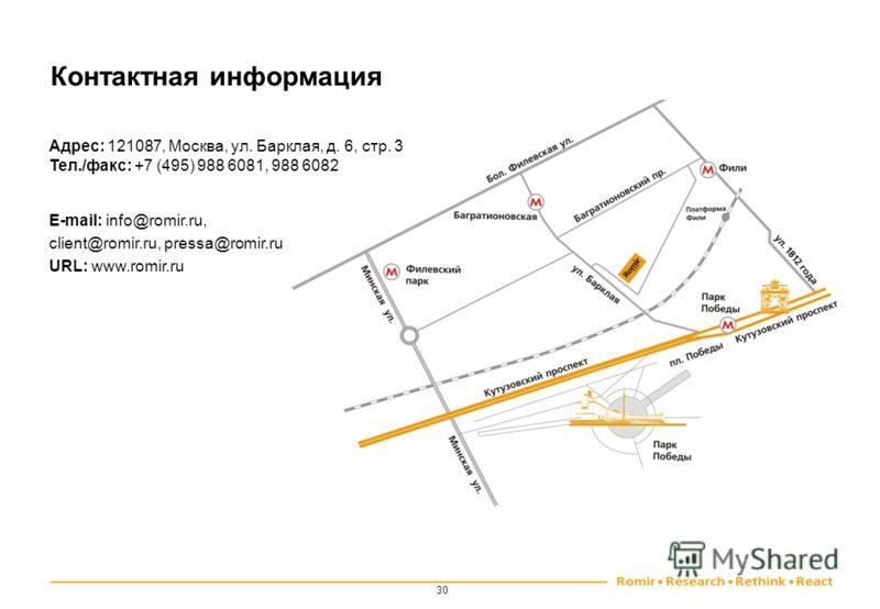 Контактная информация Адрес: 121087, Москва, ул. Барклая, д. 6, стр. 3 Тел./факс: +7 (495) 988 6081, 988 6082 E-mail: info@romir.ru, client@romir.ru, pressa@romir.ru URL: www.romir.ru 30