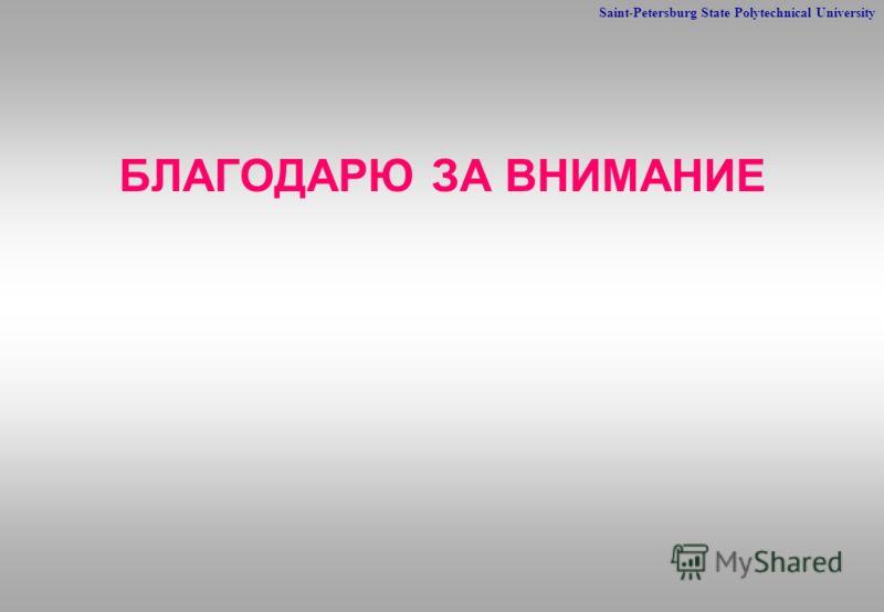 Saint-Petersburg State Polytechnical University БЛАГОДАРЮ ЗА ВНИМАНИЕ