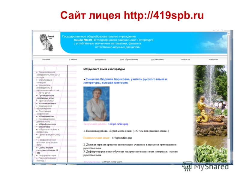 Сайт лицея http://419spb.ru