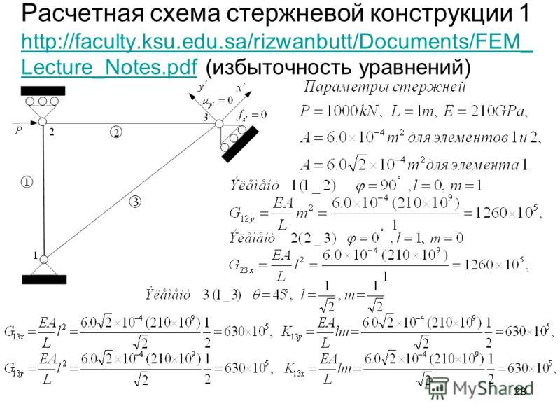 28 Расчетная схема стержневой конструкции 1 http://faculty.ksu.edu.sa/rizwanbutt/Documents/FEM_ Lecture_Notes.pdf (избыточность уравнений) http://faculty.ksu.edu.sa/rizwanbutt/Documents/FEM_ Lecture_Notes.pdf