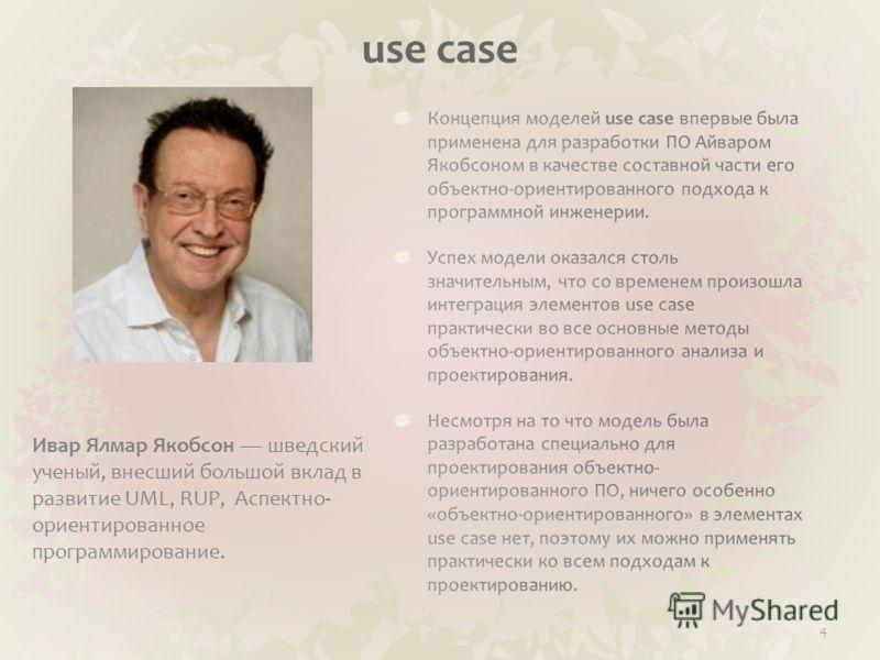 use case 4 Ивар Ялмар Якобсон шведский ученый, внесший большой вклад в развитие UML, RUP, Аспектно- ориентированное программирование.
