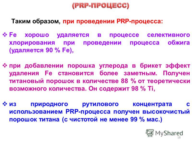 18 Таким образом, при проведении PRP-процесса: Fe хорошо удаляется в процессе селективного хлорирования при проведении процесса обжига (удаляется 90 % Fe), при добавлении порошка углерода в брикет эффект удаления Fe становится более заметным. Получен