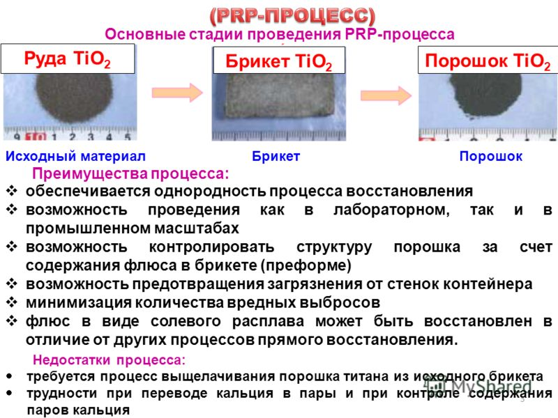 3 Основные стадии проведения PRP-процесса Руда TiO 2 Брикет TiO 2 Порошок TiO 2 Исходный материалБрикетПорошок Преимущества процесса: обеспечивается однородность процесса восстановления возможность проведения как в лабораторном, так и в промышленном