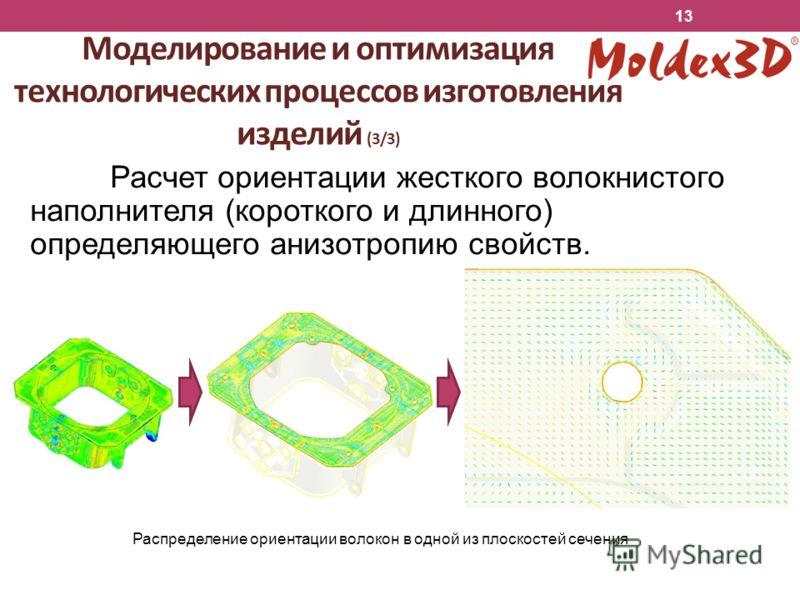 Расчет ориентации жесткого волокнистого наполнителя (короткого и длинного) определяющего анизотропию свойств. Моделирование и оптимизация технологических процессов изготовления изделий (3/3) Распределение ориентации волокон в одной из плоскостей сече