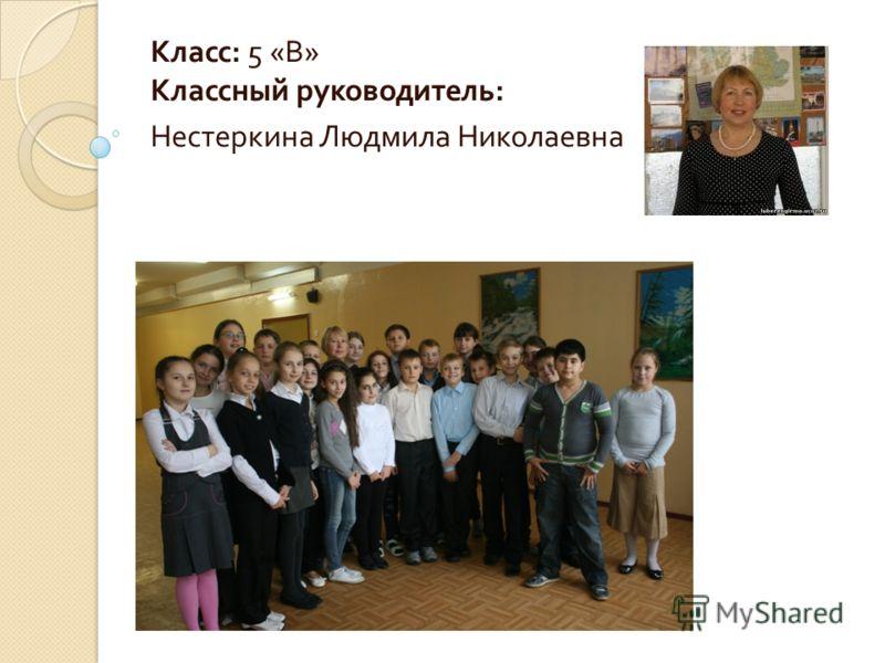 Класс : 5 « В » Классный руководитель : Нестеркина Людмила Николаевна