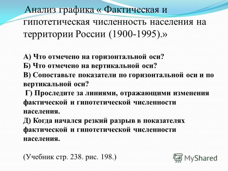 Анализ графика « Фактическая и гипотетическая численность населения на территории России (1900-1995).» А) Что отмечено на горизонтальной оси? Б) Что отмечено на вертикальной оси? В) Сопоставьте показатели по горизонтальной оси и по вертикальной оси?