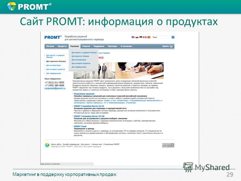 29 Сайт PROMT: информация о продуктах Маркетинг в поддержку корпоративных продаж