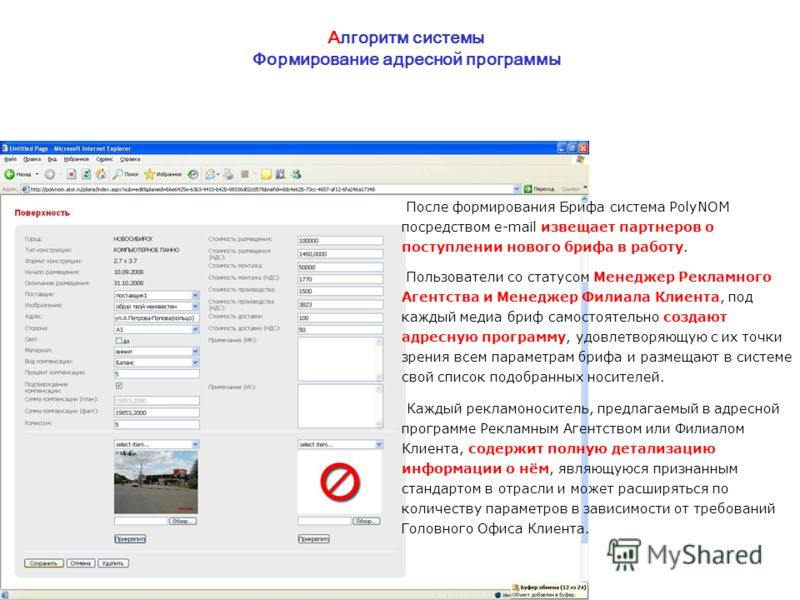 Алгоритм системы Формирование адресной программы После формирования Брифа система PolyNOM посредством e-mail извещает партнеров о поступлении нового брифа в работу. Пользователи со статусом Менеджер Рекламного Агентства и Менеджер Филиала Клиента, по