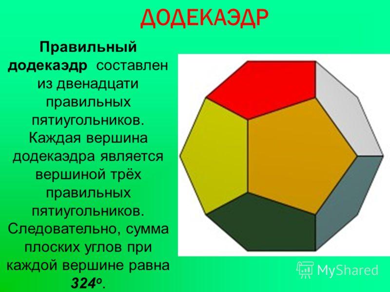 ДОДЕКАЭДР Правильный додекаэдр составлен из двенадцати правильных пятиугольников. Каждая вершина додекаэдра является вершиной трёх правильных пятиугольников. Следовательно, сумма плоских углов при каждой вершине равна 324 о.