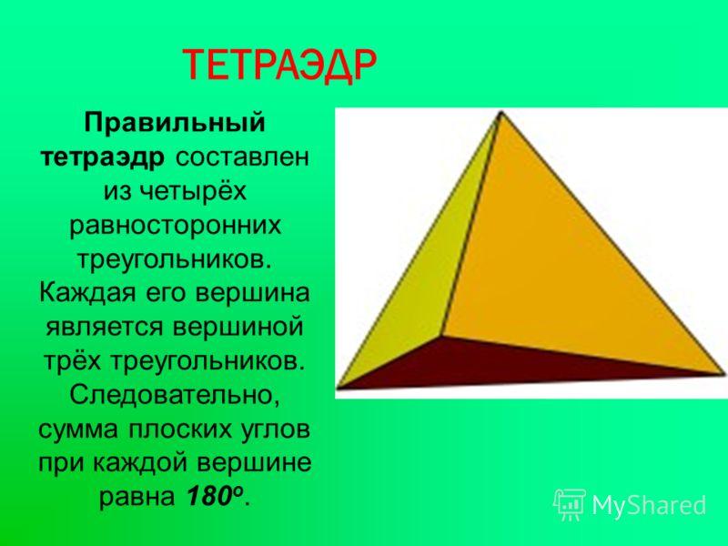 ТЕТРАЭДР Правильный тетраэдр составлен из четырёх равносторонних треугольников. Каждая его вершина является вершиной трёх треугольников. Следовательно, сумма плоских углов при каждой вершине равна 180 о.