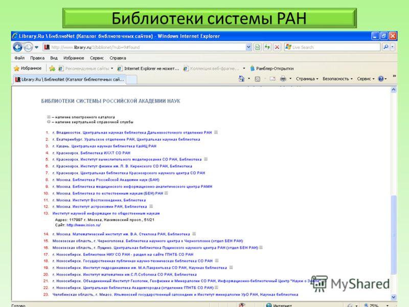 Библиотеки системы РАН