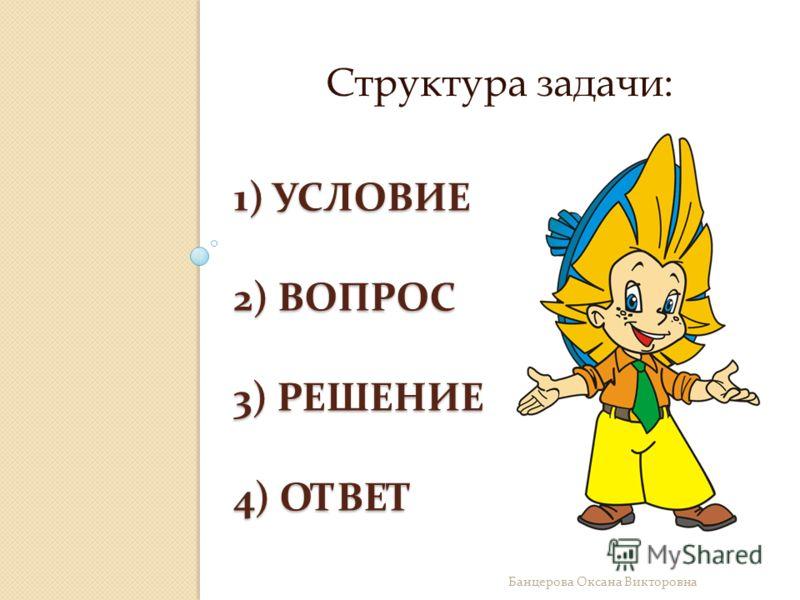 1) УСЛОВИЕ 2) ВОПРОС 3) РЕШЕНИЕ 4) ОТВЕТ Структура задачи: Банцерова Оксана Викторовна
