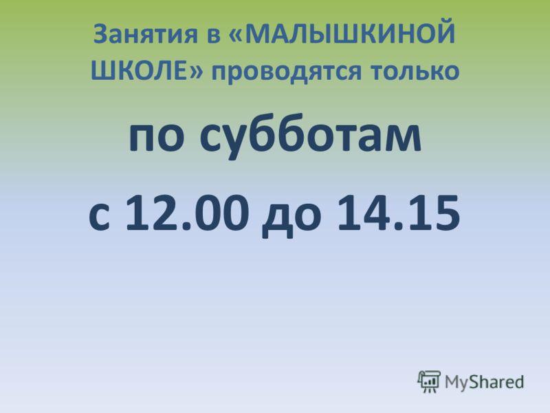 Занятия в «МАЛЫШКИНОЙ ШКОЛЕ» проводятся только по субботам с 12.00 до 14.15