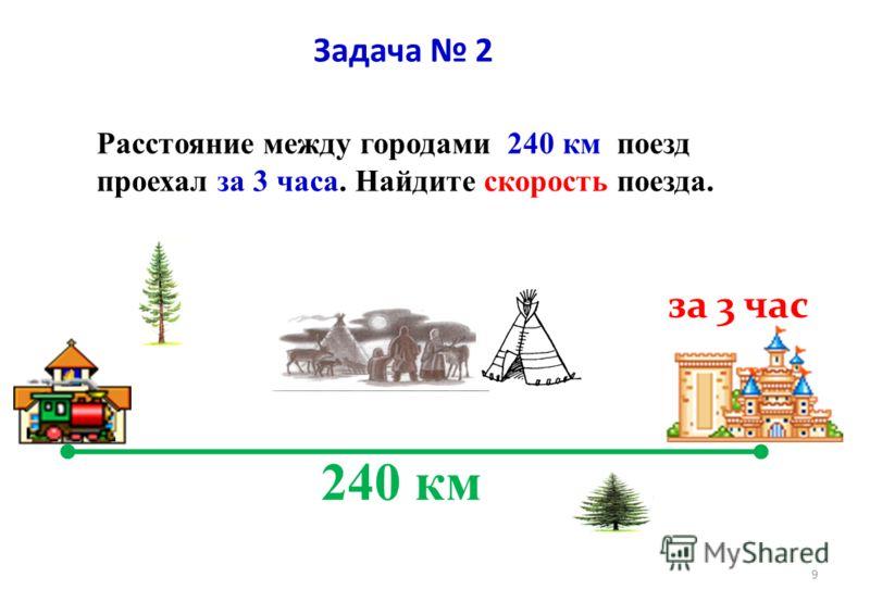 Задача 1 Дано: V = 150км/ч t = 2 ч S -? Решение: Какое расстояние пролетит вертолёт над Томской областью за 2 часа? S =V× t S= 150 км/ч × 2 ч =300 км Ответ : S = 3 00 километров 8