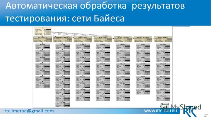 rtc.imerae@gmail.com WWW.RTC-EDU.RU Автоматическая обработка результатов тестирования: сети Байеса 27