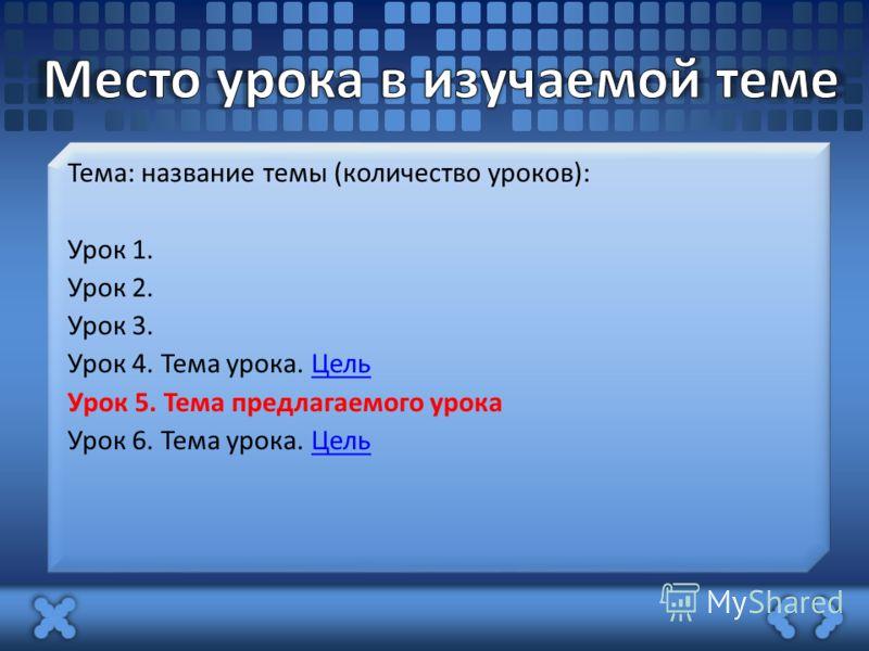 Тема: название темы (количество уроков): Урок 1. Урок 2. Урок 3. Урок 4. Тема урока. ЦельЦель Урок 5. Тема предлагаемого урока Урок 6. Тема урока. ЦельЦель